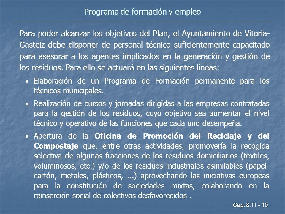 Cap. 8.11 - 10 Programa de formación y empleo Para poder alcanzar los objetivos del Plan, el Ayuntamiento de Vitoria- Gasteiz debe disponer de persona