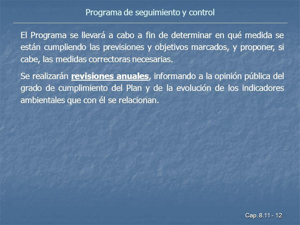 Cap. 8.11 - 12 Programa de seguimiento y control El Programa se llevará a cabo a fin de determinar en qué medida se están cumpliendo las previsiones y