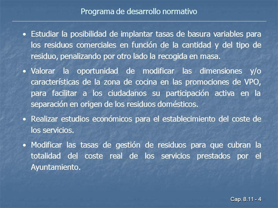 Cap. 8.11 - 4 Programa de desarrollo normativo Estudiar la posibilidad de implantar tasas de basura variables para los residuos comerciales en función