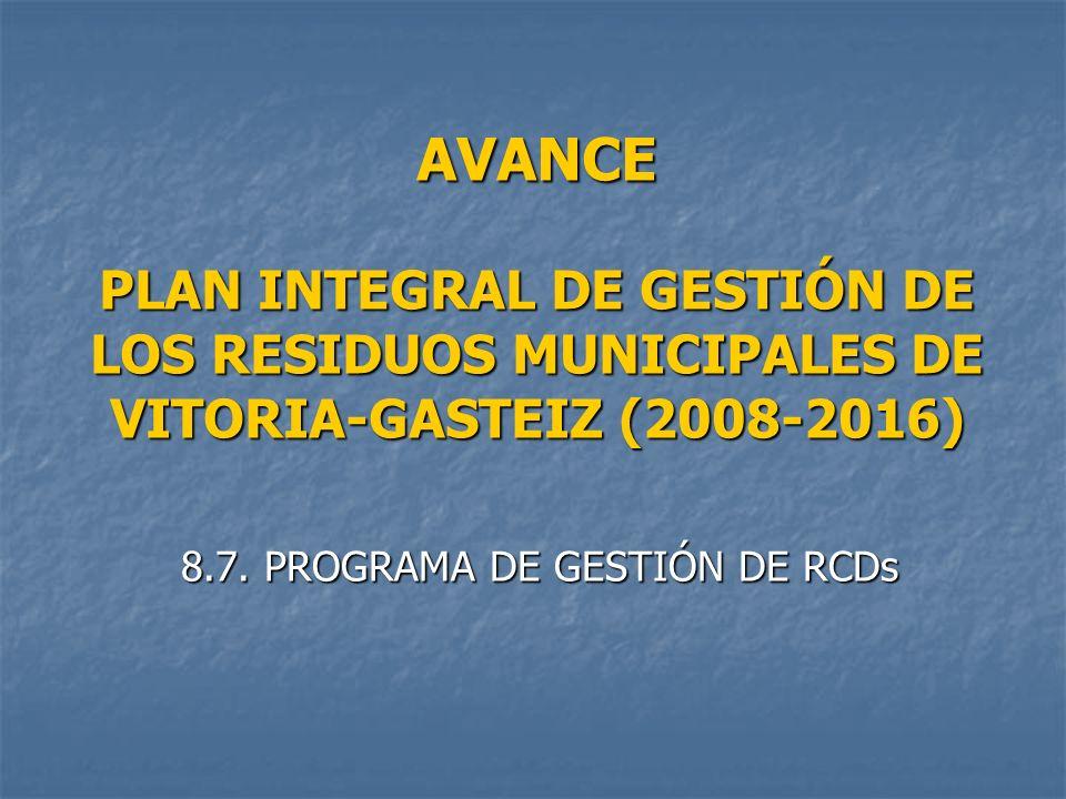 AVANCE PLAN INTEGRAL DE GESTIÓN DE LOS RESIDUOS MUNICIPALES DE VITORIA-GASTEIZ (2008-2016) 8.7.