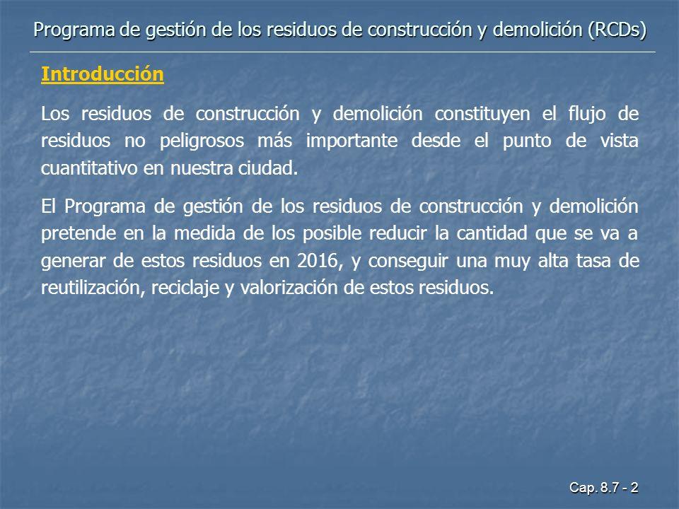 Cap. 8.7 - 2 Introducción Los residuos de construcción y demolición constituyen el flujo de residuos no peligrosos más importante desde el punto de vi