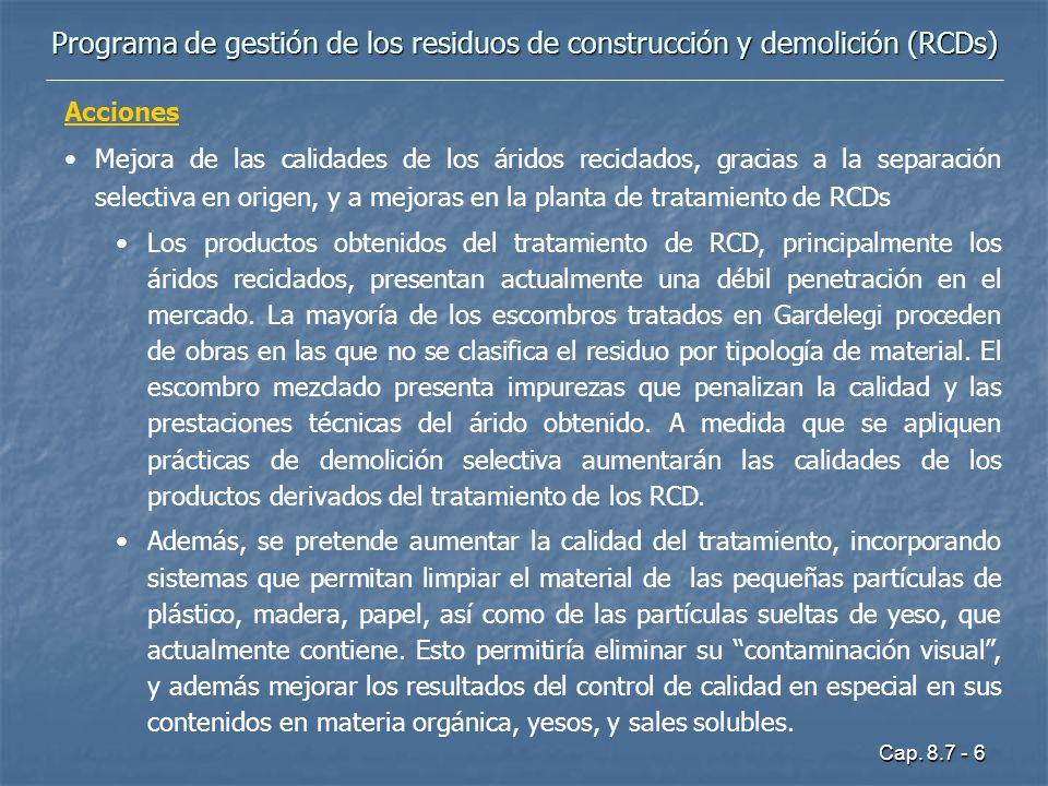 Cap. 8.7 - 6 Programa de gestión de los residuos de construcción y demolición (RCDs) Acciones Mejora de las calidades de los áridos reciclados, gracia