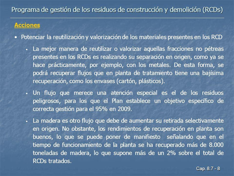 Cap. 8.7 - 8 Programa de gestión de los residuos de construcción y demolición (RCDs) Acciones Potenciar la reutilización y valorización de los materia