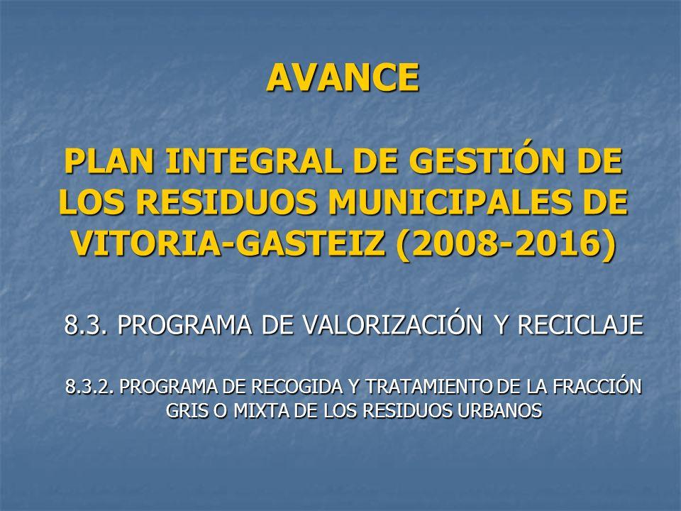 AVANCE PLAN INTEGRAL DE GESTIÓN DE LOS RESIDUOS MUNICIPALES DE VITORIA-GASTEIZ (2008-2016) 8.3. PROGRAMA DE VALORIZACIÓN Y RECICLAJE 8.3.2. PROGRAMA D