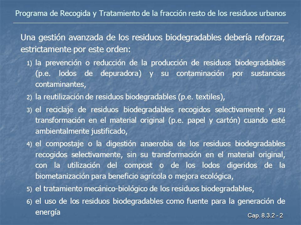 Cap. 8.3.2 - 2 Programa de Recogida y Tratamiento de la fracción resto de los residuos urbanos Una gestión avanzada de los residuos biodegradables deb