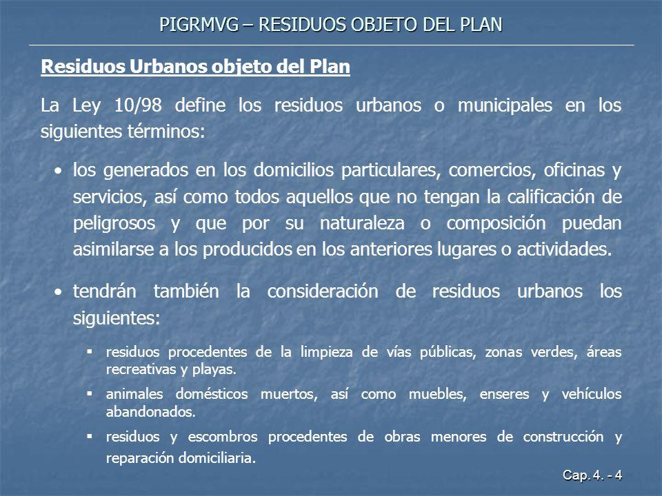 Cap. 4. - 4 PIGRMVG – RESIDUOS OBJETO DEL PLAN Residuos Urbanos objeto del Plan La Ley 10/98 define los residuos urbanos o municipales en los siguient