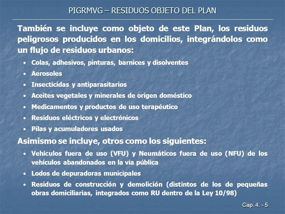 Cap. 4. - 5 PIGRMVG – RESIDUOS OBJETO DEL PLAN También se incluye como objeto de este Plan, los residuos peligrosos producidos en los domicilios, inte