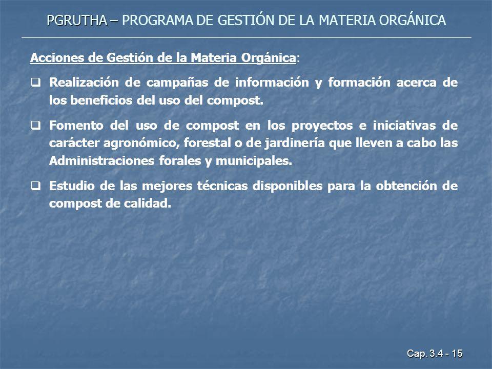 Cap. 3.4 - 15 PGRUTHA – PGRUTHA – PROGRAMA DE GESTIÓN DE LA MATERIA ORGÁNICA Acciones de Gestión de la Materia Orgánica: Realización de campañas de in