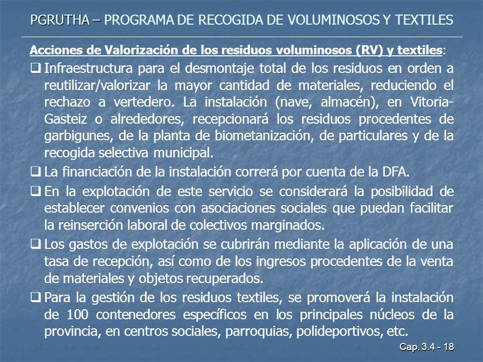 Cap. 3.4 - 18 PGRUTHA – PGRUTHA – PROGRAMA DE RECOGIDA DE VOLUMINOSOS Y TEXTILES Acciones de Valorización de los residuos voluminosos (RV) y textiles: