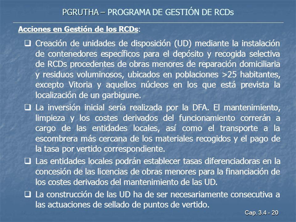 Cap. 3.4 - 20 PGRUTHA – PGRUTHA – PROGRAMA DE GESTIÓN DE RCDs Acciones en Gestión de los RCDs: Creación de unidades de disposición (UD) mediante la in