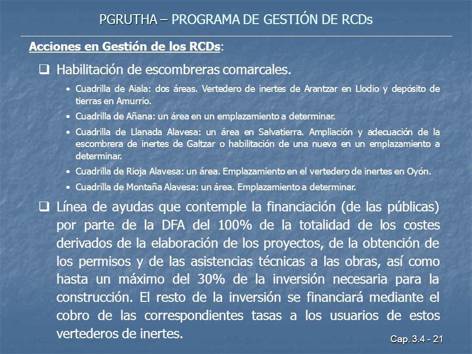 Cap. 3.4 - 21 PGRUTHA – PGRUTHA – PROGRAMA DE GESTIÓN DE RCDs Acciones en Gestión de los RCDs: Habilitación de escombreras comarcales. Cuadrilla de Ai