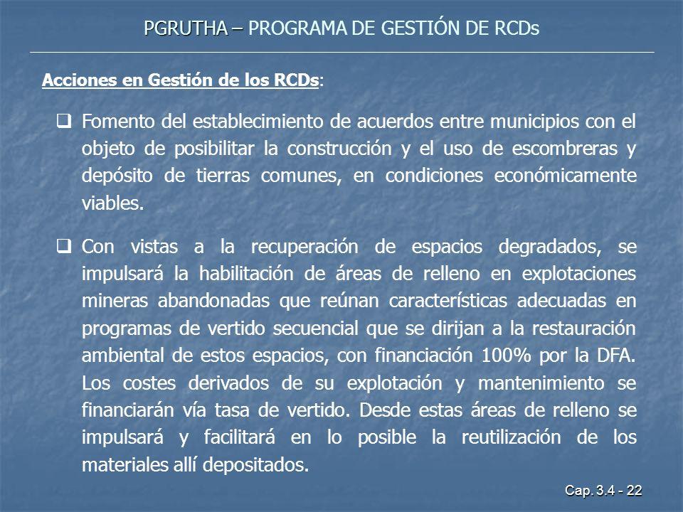 Cap. 3.4 - 22 PGRUTHA – PGRUTHA – PROGRAMA DE GESTIÓN DE RCDs Acciones en Gestión de los RCDs: Fomento del establecimiento de acuerdos entre municipio