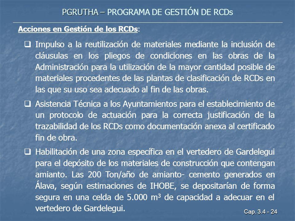 Cap. 3.4 - 24 PGRUTHA – PGRUTHA – PROGRAMA DE GESTIÓN DE RCDs Acciones en Gestión de los RCDs: Impulso a la reutilización de materiales mediante la in