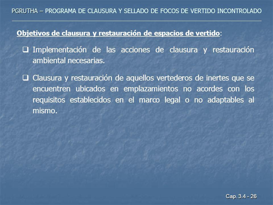 Cap. 3.4 - 26 PGRUTHA – PGRUTHA – PROGRAMA DE CLAUSURA Y SELLADO DE FOCOS DE VERTIDO INCONTROLADO Objetivos de clausura y restauración de espacios de