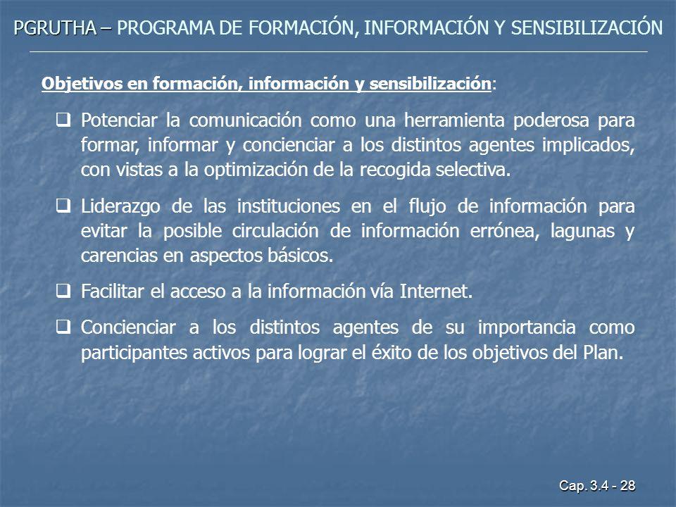 Cap. 3.4 - 28 PGRUTHA – PGRUTHA – PROGRAMA DE FORMACIÓN, INFORMACIÓN Y SENSIBILIZACIÓN Objetivos en formación, información y sensibilización: Potencia