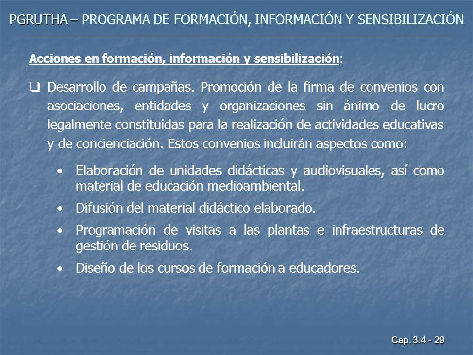 Cap. 3.4 - 29 PGRUTHA – PGRUTHA – PROGRAMA DE FORMACIÓN, INFORMACIÓN Y SENSIBILIZACIÓN Acciones en formación, información y sensibilización: Desarroll