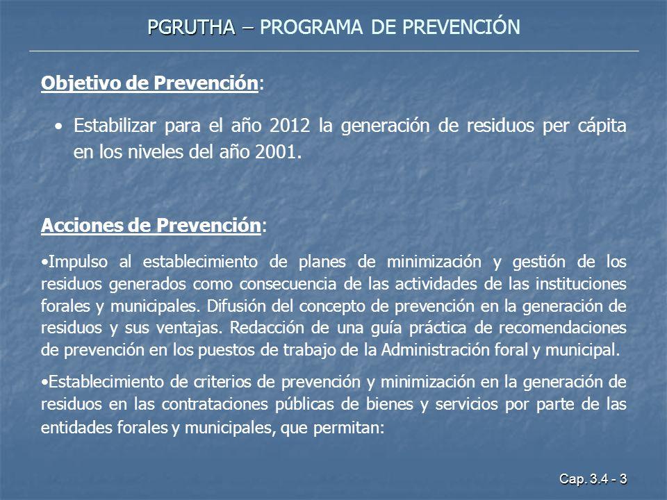 Cap. 3.4 - 3 PGRUTHA – PGRUTHA – PROGRAMA DE PREVENCIÓN Objetivo de Prevención: Estabilizar para el año 2012 la generación de residuos per cápita en l