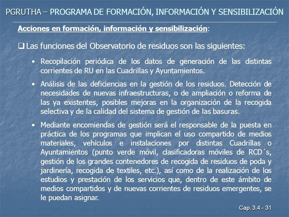 Cap. 3.4 - 31 PGRUTHA – PGRUTHA – PROGRAMA DE FORMACIÓN, INFORMACIÓN Y SENSIBILIZACIÓN Acciones en formación, información y sensibilización: Las funci