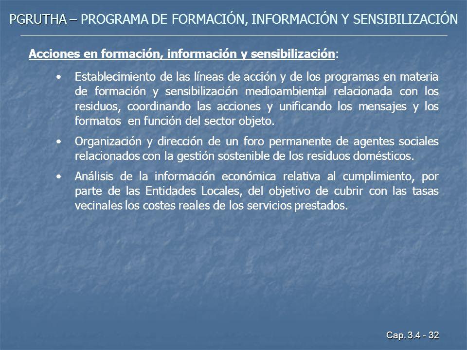 Cap. 3.4 - 32 PGRUTHA – PGRUTHA – PROGRAMA DE FORMACIÓN, INFORMACIÓN Y SENSIBILIZACIÓN Acciones en formación, información y sensibilización: Estableci