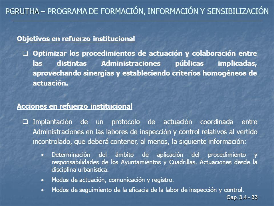 Cap. 3.4 - 33 PGRUTHA – PGRUTHA – PROGRAMA DE FORMACIÓN, INFORMACIÓN Y SENSIBILIZACIÓN Objetivos en refuerzo institucional Optimizar los procedimiento