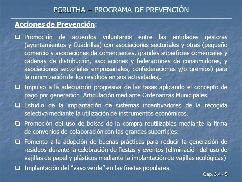 Cap. 3.4 - 5 PGRUTHA – PGRUTHA – PROGRAMA DE PREVENCIÓN Acciones de Prevención: Promoción de acuerdos voluntarios entre las entidades gestoras (ayunta