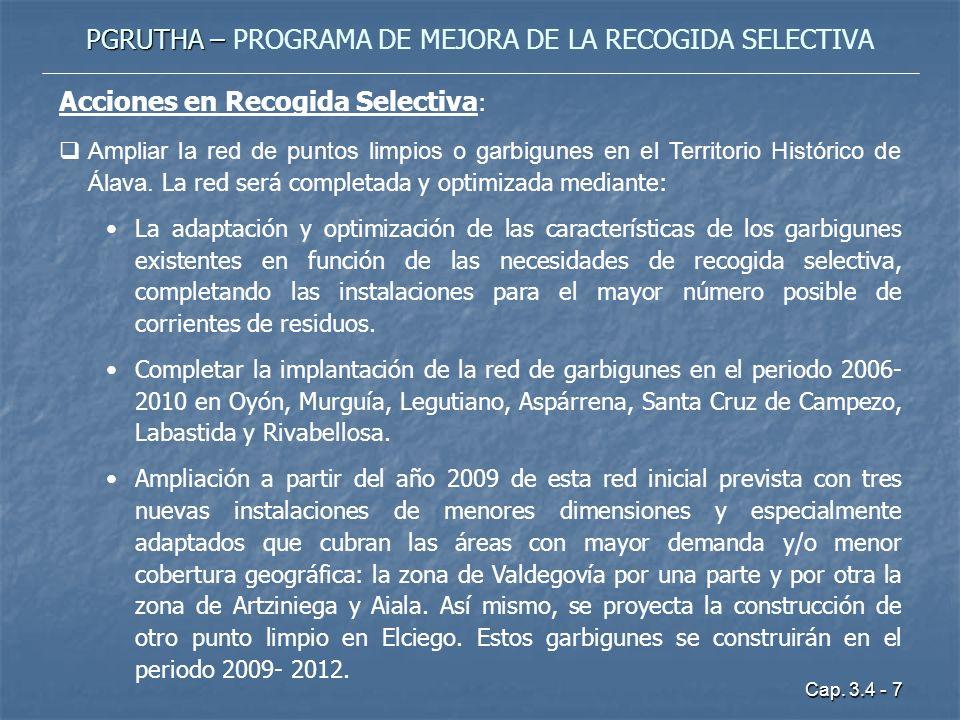 Cap. 3.4 - 7 PGRUTHA – PGRUTHA – PROGRAMA DE MEJORA DE LA RECOGIDA SELECTIVA Acciones en Recogida Selectiva : Ampliar la red de puntos limpios o garbi