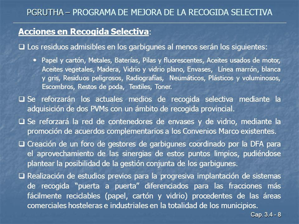 Cap. 3.4 - 8 PGRUTHA – PGRUTHA – PROGRAMA DE MEJORA DE LA RECOGIDA SELECTIVA Acciones en Recogida Selectiva : Los residuos admisibles en los garbigune
