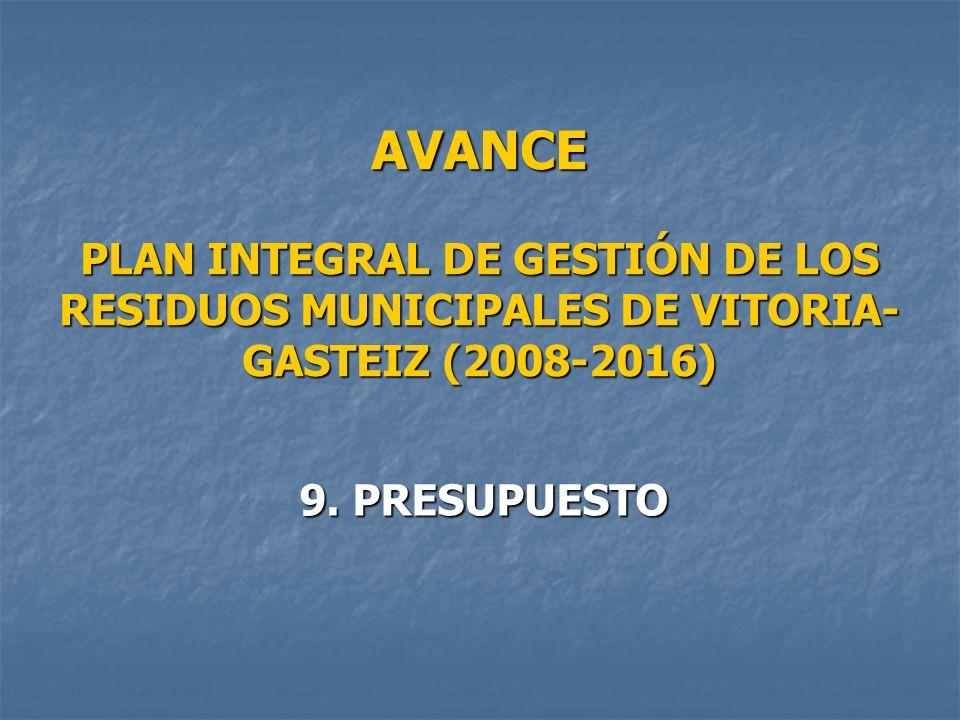 AVANCE PLAN INTEGRAL DE GESTIÓN DE LOS RESIDUOS MUNICIPALES DE VITORIA- GASTEIZ (2008-2016) 9.