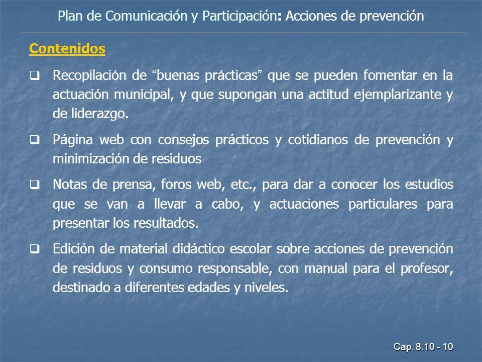 Cap. 8.10 - 10 Contenidos Recopilaci ó n de buenas pr á cticas que se pueden fomentar en la actuaci ó n municipal, y que supongan una actitud ejemplar