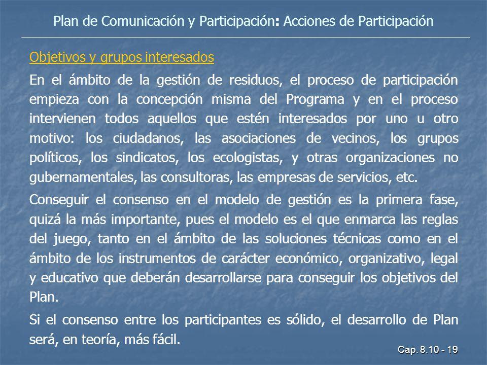 Cap. 8.10 - 19 Objetivos y grupos interesados En el ámbito de la gestión de residuos, el proceso de participación empieza con la concepción misma del