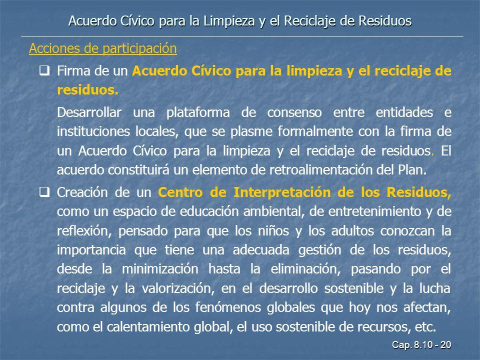 Cap. 8.10 - 20 Acciones de participación Firma de un Acuerdo Cívico para la limpieza y el reciclaje de residuos. Desarrollar una plataforma de consens