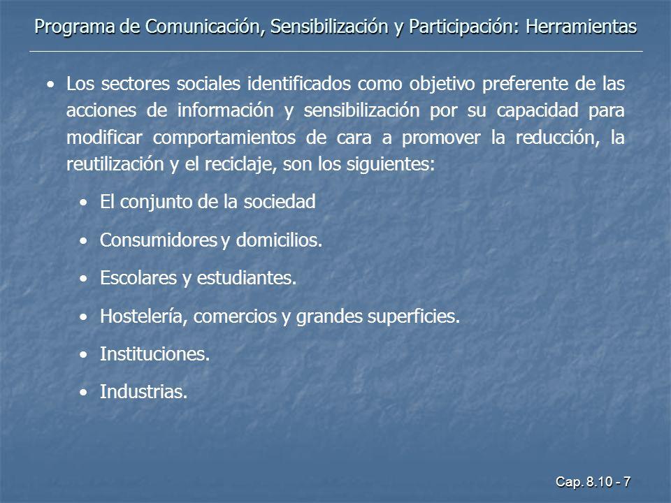 Cap. 8.10 - 7 Programa de Comunicación, Sensibilización y Participación: Herramientas Los sectores sociales identificados como objetivo preferente de