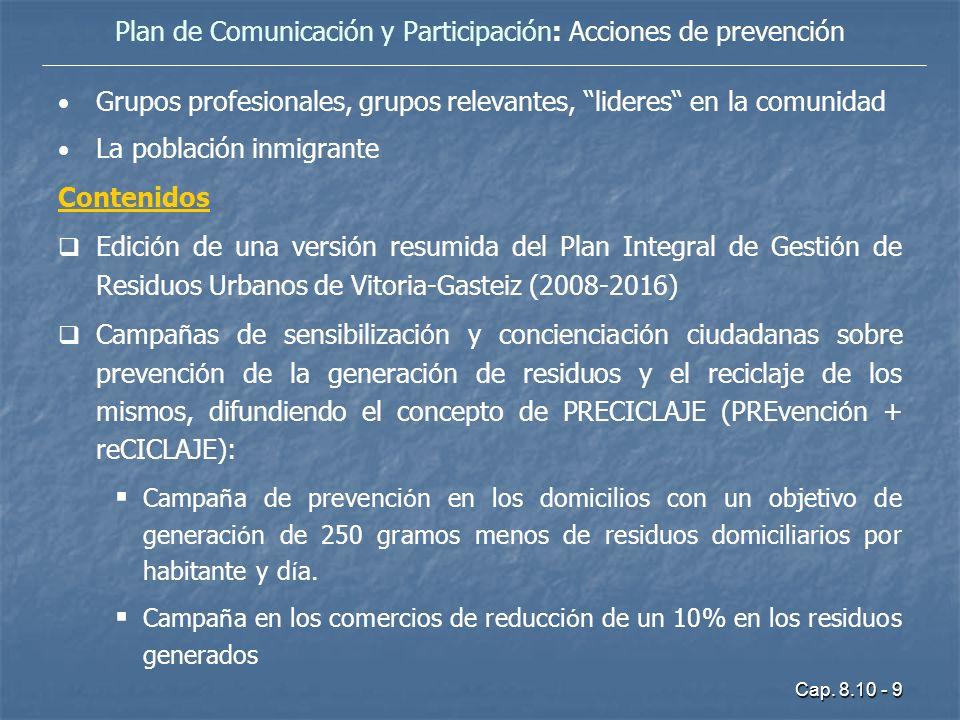 Cap. 8.10 - 9 Grupos profesionales, grupos relevantes, lideres en la comunidad La población inmigrante Contenidos Edici ó n de una versi ó n resumida