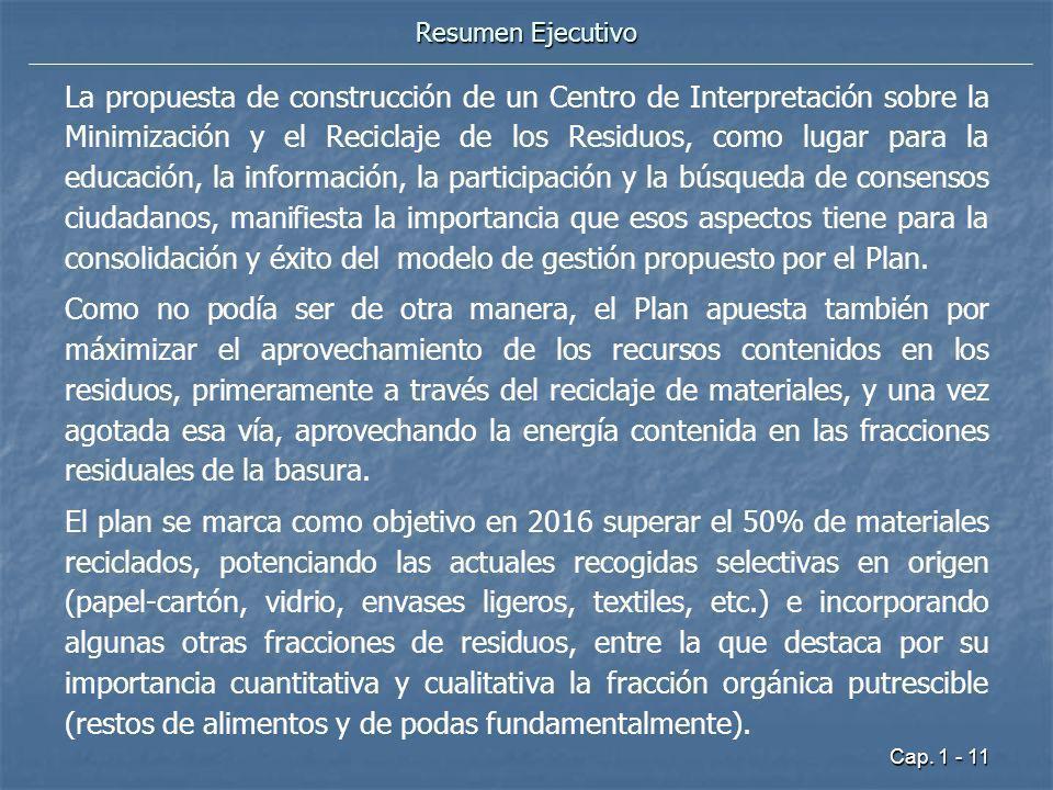 Cap. 1 - 11 Resumen Ejecutivo La propuesta de construcción de un Centro de Interpretación sobre la Minimización y el Reciclaje de los Residuos, como l