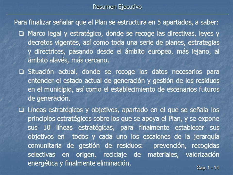 Cap. 1 - 14 Resumen Ejecutivo Para finalizar señalar que el Plan se estructura en 5 apartados, a saber: Marco legal y estratégico, donde se recoge las