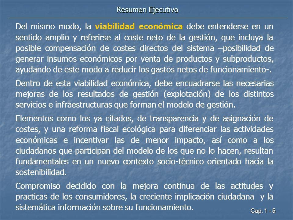 Cap. 1 - 5 Resumen Ejecutivo Del mismo modo, la viabilidad económica debe entenderse en un sentido amplio y referirse al coste neto de la gestión, que