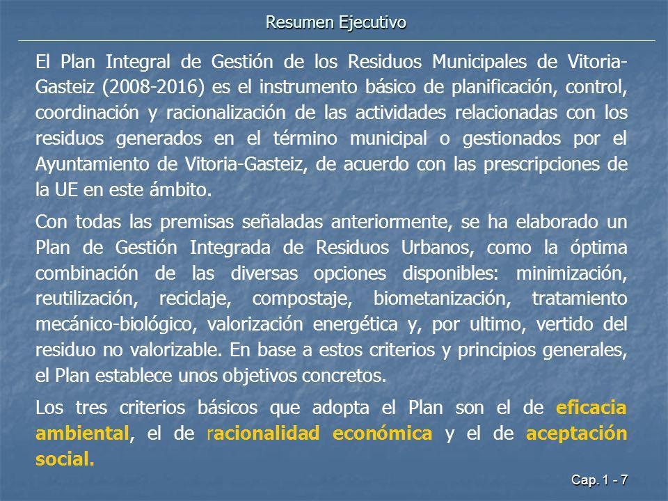 Cap. 1 - 7 Resumen Ejecutivo El Plan Integral de Gestión de los Residuos Municipales de Vitoria- Gasteiz (2008-2016) es el instrumento básico de plani