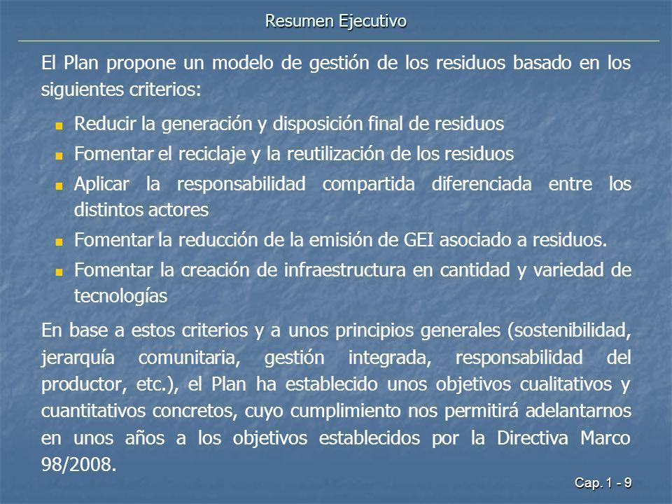 Cap. 1 - 9 Resumen Ejecutivo El Plan propone un modelo de gestión de los residuos basado en los siguientes criterios: Reducir la generación y disposic