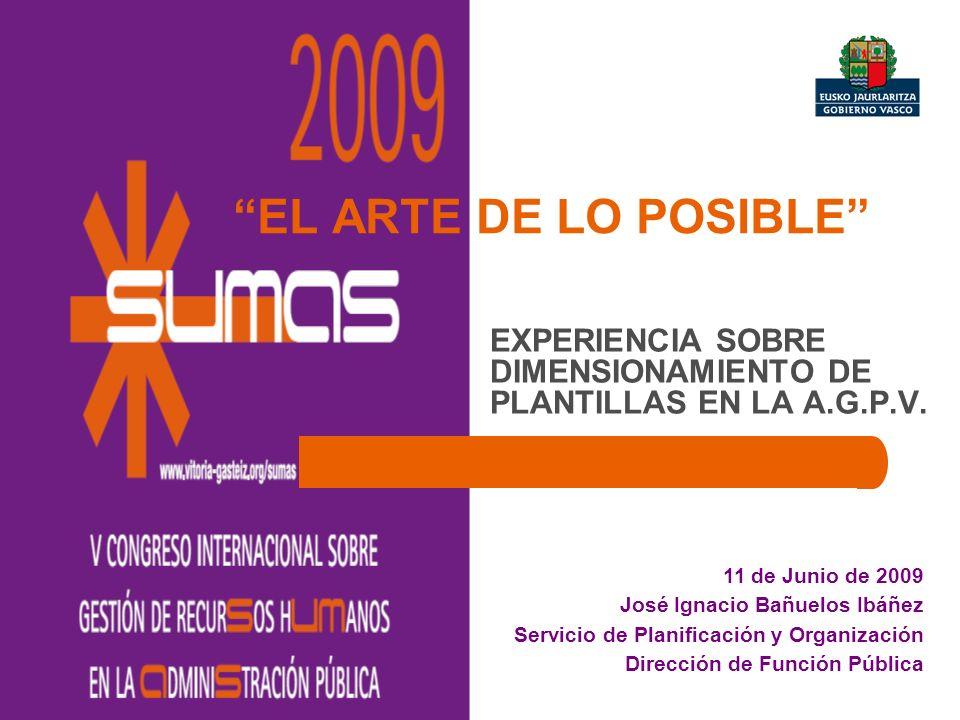EL ARTE DE LO POSIBLE EXPERIENCIA SOBRE DIMENSIONAMIENTO DE PLANTILLAS EN LA A.G.P.V. 11 de Junio de 2009 José Ignacio Bañuelos Ibáñez Servicio de Pla