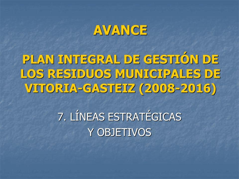 AVANCE PLAN INTEGRAL DE GESTIÓN DE LOS RESIDUOS MUNICIPALES DE VITORIA-GASTEIZ (2008-2016) 7. LÍNEAS ESTRATÉGICAS Y OBJETIVOS