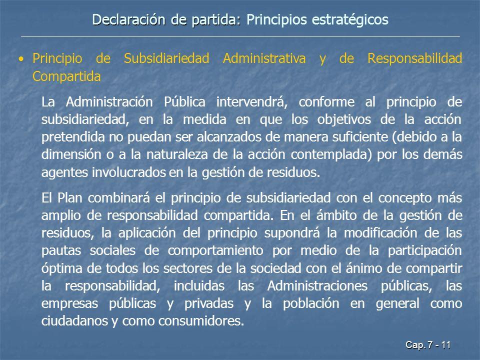 Cap. 7 - 11 Declaración de partida: Declaración de partida: Principios estratégicos Principio de Subsidiariedad Administrativa y de Responsabilidad Co