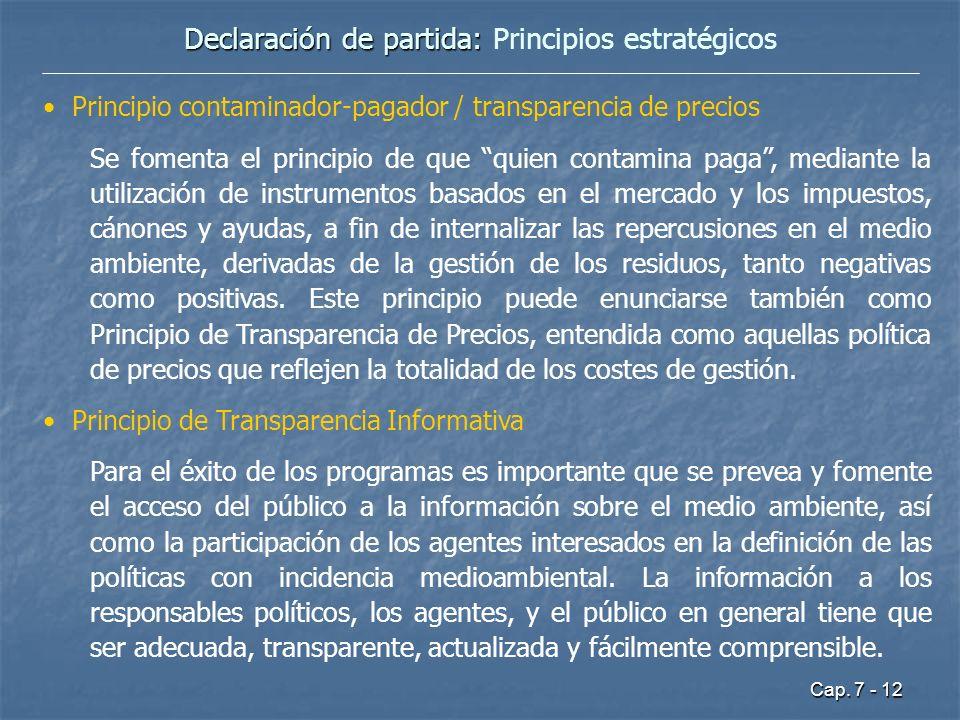 Cap. 7 - 12 Declaración de partida: Declaración de partida: Principios estratégicos Principio contaminador-pagador / transparencia de precios Se fomen