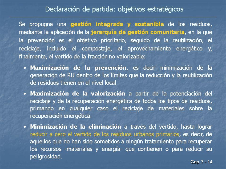 Cap. 7 - 14 Declaración de partida: objetivos estratégicos Se propugna una gestión integrada y sostenible de los residuos, mediante la aplicación de l