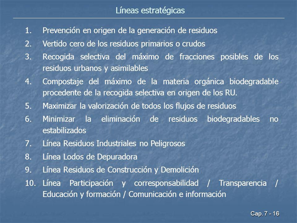 Cap. 7 - 16 Líneas estratégicas 1.Prevención en origen de la generación de residuos 2.Vertido cero de los residuos primarios o crudos 3.Recogida selec