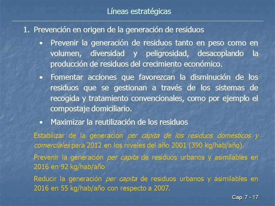 Cap. 7 - 17 Líneas estratégicas 1.Prevención en origen de la generación de residuos Prevenir la generación de residuos tanto en peso como en volumen,