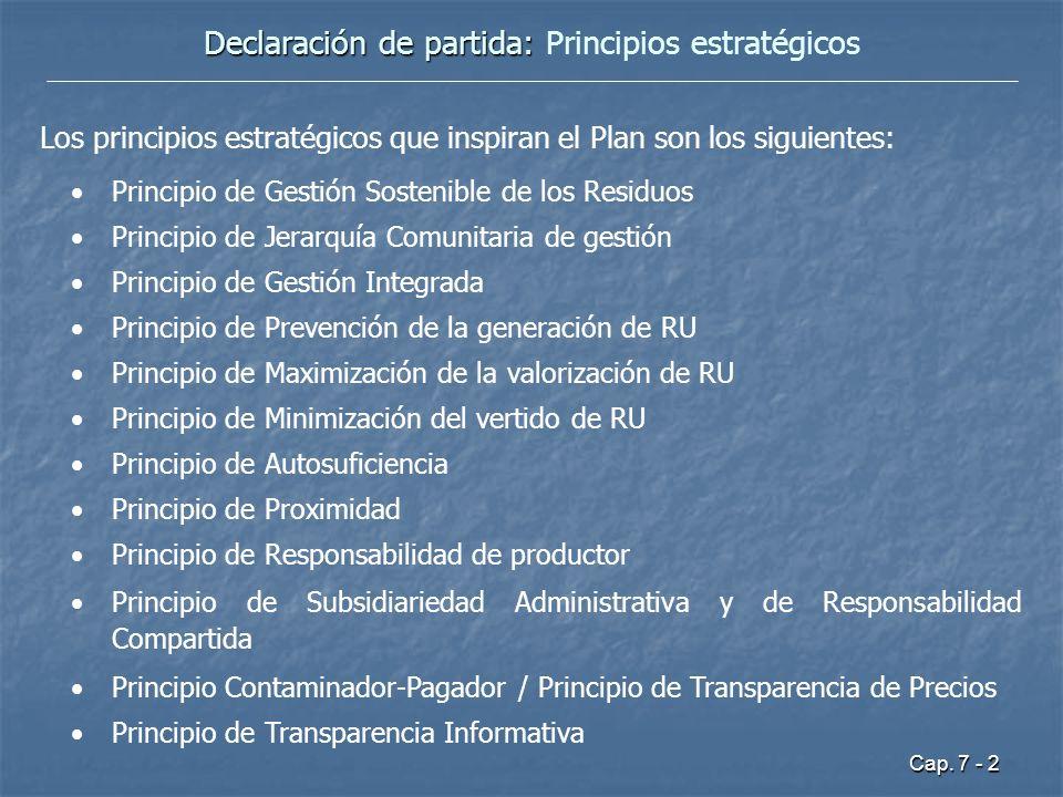 Cap. 7 - 2 Declaración de partida: Declaración de partida: Principios estratégicos Los principios estratégicos que inspiran el Plan son los siguientes