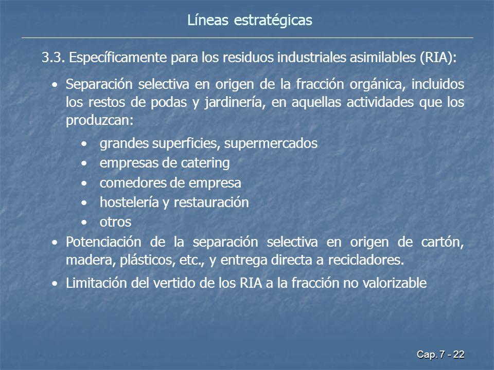 Cap. 7 - 22 Líneas estratégicas 3.3. Específicamente para los residuos industriales asimilables (RIA): Separación selectiva en origen de la fracción o