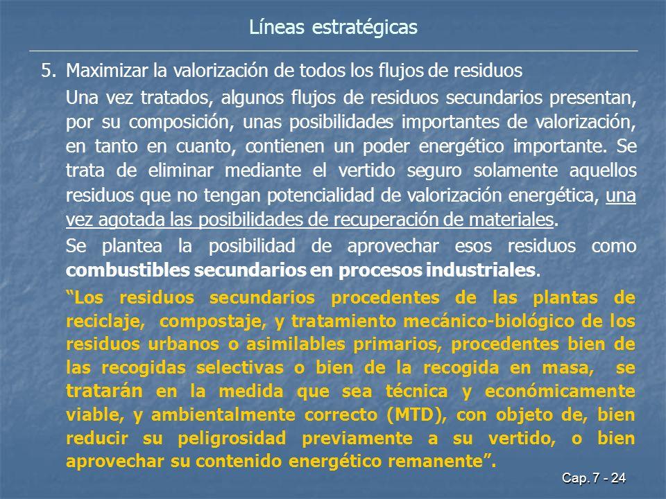Cap. 7 - 24 Líneas estratégicas 5.Maximizar la valorización de todos los flujos de residuos Una vez tratados, algunos flujos de residuos secundarios p