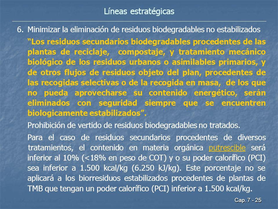 Cap. 7 - 25 Líneas estratégicas 6.Minimizar la eliminación de residuos biodegradables no estabilizados Los residuos secundarios biodegradables procede