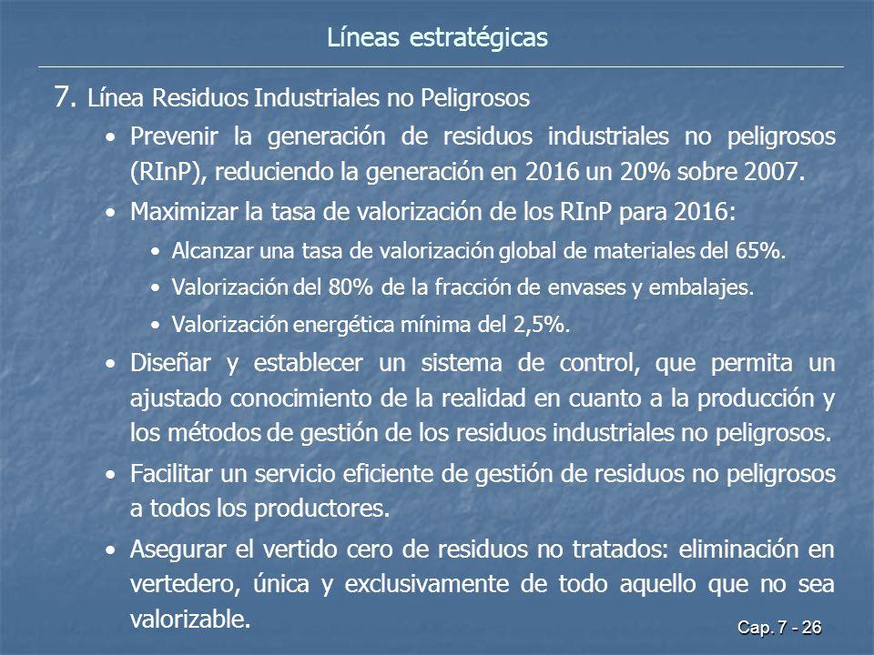 Cap. 7 - 26 7. Línea Residuos Industriales no Peligrosos Prevenir la generación de residuos industriales no peligrosos (RInP), reduciendo la generació